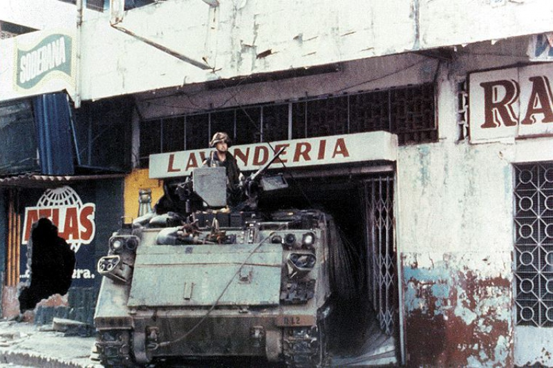 """A US soldier, on a US Army M113, in Panama during """"Operation Just Cause"""""""